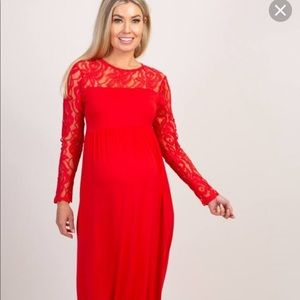 Maternity maxi dress red lace long sleeve